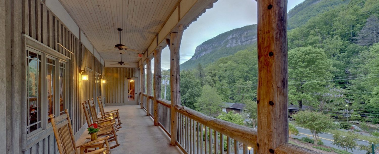 View of Chimney Rock State Park from the second floor patio at The Esmeralda Inn.