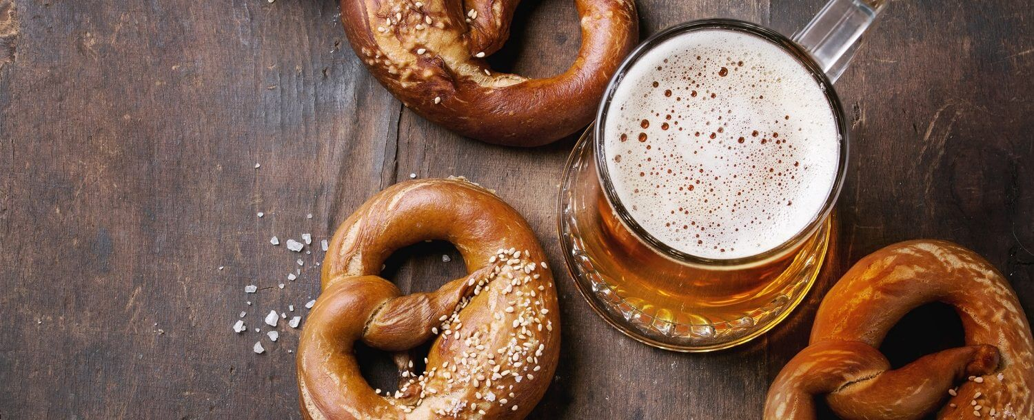 Lager beer with pretzels at Asheville Oktoberfest