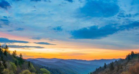Scenic mountain views at Rumbling Bald Mountain at sunset.