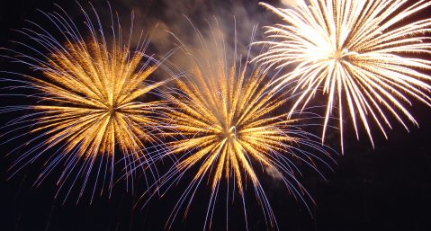 large yellow colored fireworks