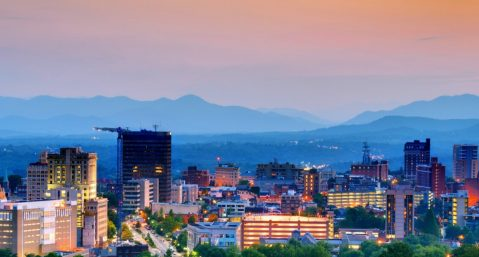 A cityscape view of Asheville, NC: road trips in n.c.