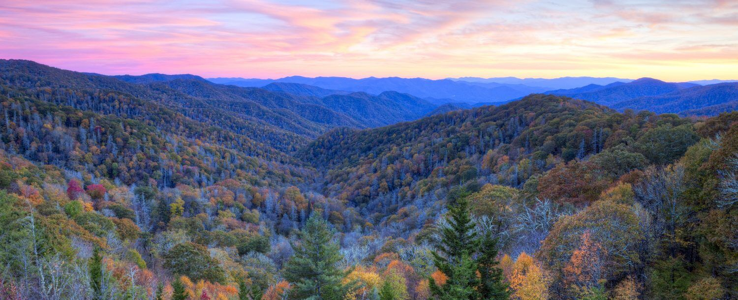 the-skyline-of-the-blue-ridge-mountains-at-sunset-one-of-the-best-places-to-enjoy-north-carolinas-fall-colors.-