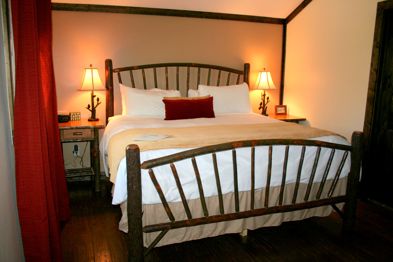 an extremely comfortable bed at the honeymoon cottage at the esmeralda inn & restaurant.