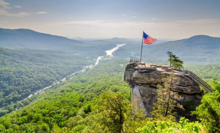 The overlook at Chimney Rock State Park.