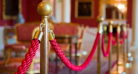 Detail of red rope on a exhibit at the Swannanoa Valley Museum.