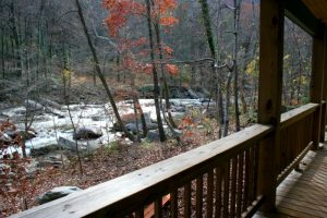 River views outside The Chimney Rock River Cabin.