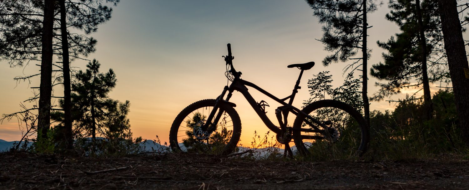 The silhouette of a mountain bike on a bike trail in Asheville, NC.