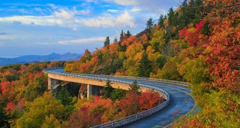 Linn Cove Viaduct on the Blue Ridge parkway in the fall season: Fall colors near Chimney Rock.