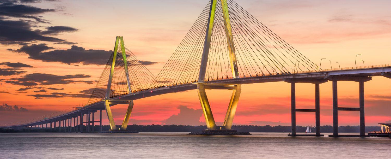 Arthur Ravenel Jr. Bridge in Charleston at sunset: S.C. Lowcountry road trip from Charleston to Lake Lure, NC.