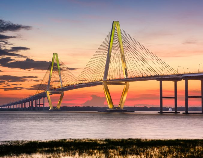 Arthur Ravenel Jr. Bridge in Charleston at sunset: S.C. Lowcountry road trip from Charleston to Lake Lure, NC.