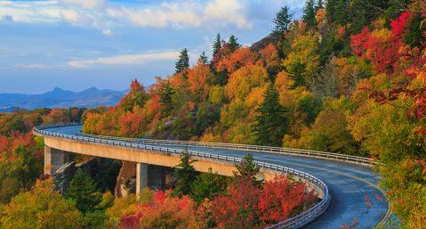 beautiful mountain view in fall
