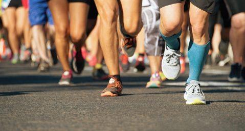 people running in the Asheville Marathon